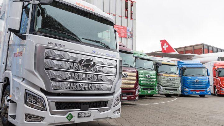 Die Wasserstoff-Lkw-Flotte von Hyundai Xcient legte eine Million Kilometer zurück.
